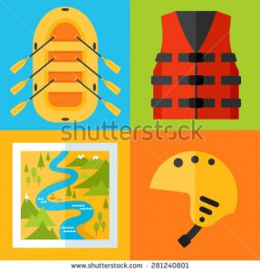 stock-vector-vector-set-of-rafting-icons-flat-design-style-281240801